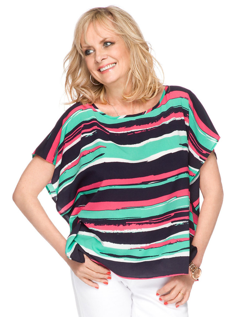 """""""I love the beautiful watercolour stripe and versatile kaftan shape of this colourful top. I'll be wearing it all summer with crisp white jeans and sandals"""""""